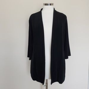 Chico's Travelers Size 2 Open Front Black Cardigan